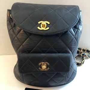 Authentic Chanel Small Backpack Mini Lambskin Bag